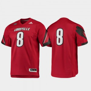 U of L Football #8 College Jersey For Men's Premier Red