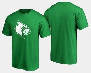 White Logo Big & Tall College T-Shirt St. Patrick's Day Kelly Green For Men UofL
