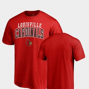 Red Square Up Louisville Cardinals Men College T-Shirt