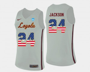For Men #24 Ramblers Basketball White Aundre Jackson College Jersey US Flag Fashion