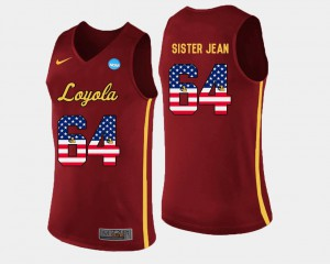 Basketball For Men US Flag Fashion Maroon Sister Jean College Jersey Ramblers #64