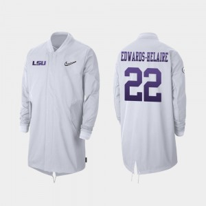 Full-Zip Sideline White LSU Tigers Clyde Edwards-Helaire College Jacket For Men's 2019 Football Playoff Bound #22