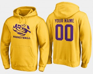 Gold College Customized Hoodie #00 LSU Tigers For Men's Basketball -