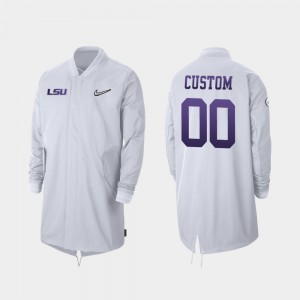Full-Zip Sideline Men 2019 Football Playoff Bound College Custom Jackets #00 White Louisiana State Tigers