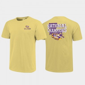 Men College T-Shirt Tigers 2019 National Champions Gold Field of State Comfort Color