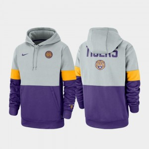 Gray Purple Therma Performance Pullover Louisiana State Tigers Mens Rivalry College Hoodie