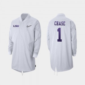 #1 Ja'Marr Chase College Jacket Full-Zip Sideline LSU Tigers For Men 2019 Football Playoff Bound White
