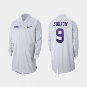 #9 Joe Burrow College Jacket For Men Tigers Full-Zip Sideline White 2019 Football Playoff Bound
