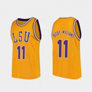 Kavell Bigby-Williams College Jersey #11 Basketball For Men LSU Gold Replica