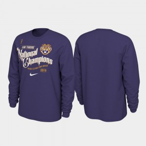 For Men 2019 National Champions College T-Shirt Purple Celebration Long Sleeve Football Playoff LSU