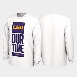 2020 March Madness Louisiana State Tigers Our Time Bench Legend White College T-Shirt Men's