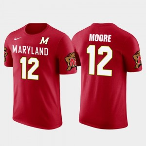 For Men's Maryland Future Stars D.J. Moore College T-Shirt Red #12 Carolina Panthers Football