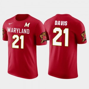 Red Future Stars For Men's Sean Davis College T-Shirt University of Maryland #21 Pittsburgh Steelers Football