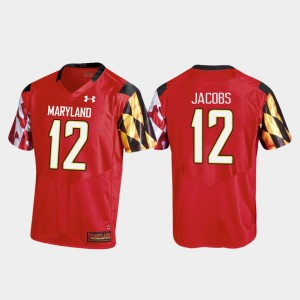 Red #12 Maryland Replica For Men Football Taivon Jacobs College Jersey