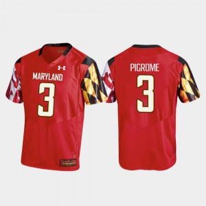 Mens Football Red Replica University of Maryland #3 Tyrrell Pigrome College Jersey