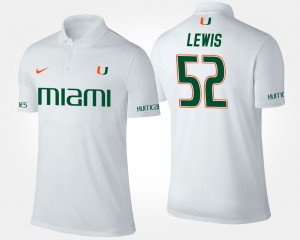 Ray Lewis College Polo Hurricanes #52 White For Men's