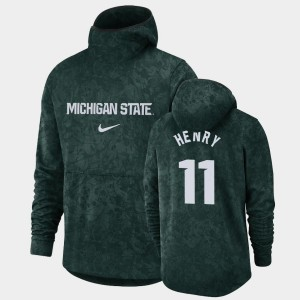 Green #11 Michigan State Spartans Pullover Team Logo Men's Basketball Spotlight Aaron Henry College Hoodie