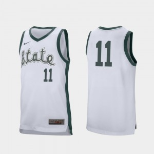 Aaron Henry College Jersey Retro Performance White Men's Michigan State Spartans #11 Basketball