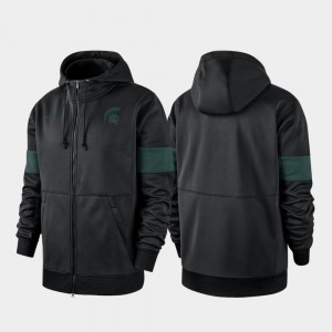 Michigan State University Performance Full-Zip College Hoodie For Men's 2019 Sideline Therma-FIT Black