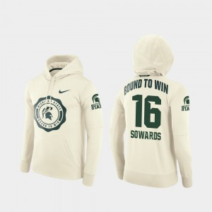 Brandon Sowards College Hoodie Men Football Pullover Rival Therma #16 Cream Michigan State Spartans