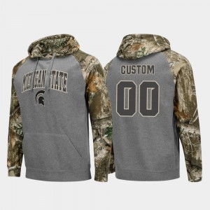 Football Raglan #00 Mens Charcoal College Customized Hoodie Realtree Camo Michigan State Spartans