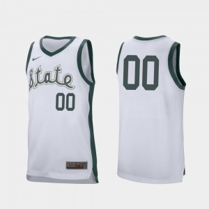 Michigan State Spartans College Customized Jersey Men's Retro Performance #00 Basketball White