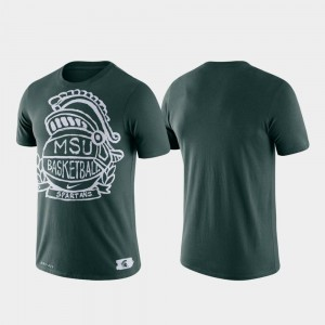 Basketball Crest Michigan State College T-Shirt For Men Performance Green