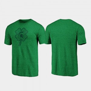 College T-Shirt Green Celtic Charm Tri-Blend Michigan State St. Patrick's Day For Men's