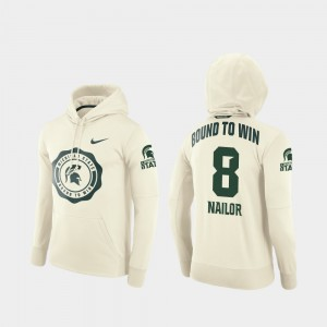 Cream Football Pullover Michigan State Spartans Men's Jalen Nailor College Hoodie #8 Rival Therma