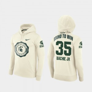 Michigan State Spartans #35 Cream Rival Therma Football Pullover Men's Joe Bachie College Hoodie