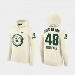 #48 For Men Cream Michigan State University Rival Therma Kenny Willekes College Hoodie Football Pullover