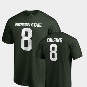 Legends #8 Name & Number For Men's Kirk Cousins College T-Shirt Green Michigan State