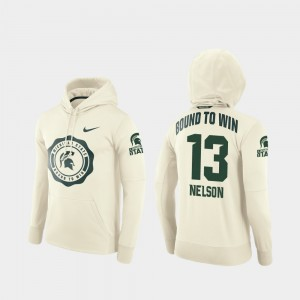 Cream Football Pullover Mens Rival Therma Spartans #13 Laress Nelson College Hoodie