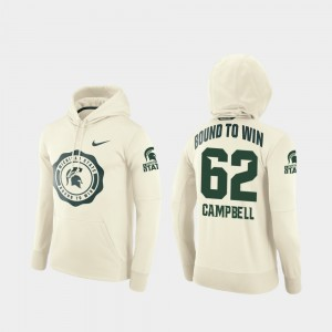 Luke Campbell College Hoodie Football Pullover For Men #62 Cream Rival Therma Michigan State Spartans