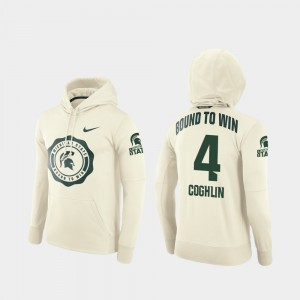 For Men's #4 Rival Therma Football Pullover Cream Matt Coghlin College Hoodie Michigan State Spartans