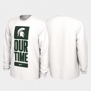 For Men's White Michigan State Spartans 2020 March Madness College T-Shirt Our Time Bench Legend