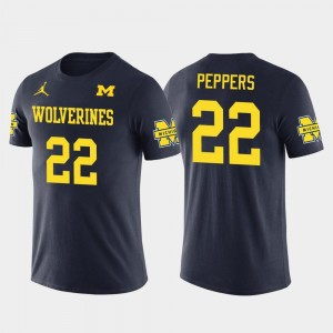 Mens Future Stars Cleveland Browns Football Jabrill Peppers College T-Shirt #22 Navy Michigan