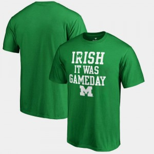 For Men's Kelly Green Michigan Wolverines St. Patrick's Day Irish It Was Gameday College T-Shirt