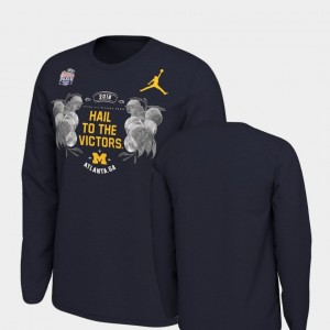 2018 Peach Bowl Bound Navy Michigan Verbiage Long Sleeve For Men College T-Shirt