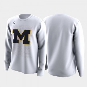 Michigan Wolverines March Madness Legend Basketball Long Sleeve Men's College T-Shirt White Family on Court