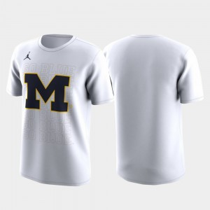 March Madness Legend Basketball Performance College T-Shirt For Men Michigan Family on Court White