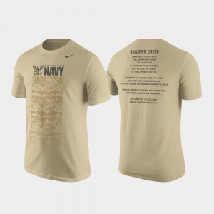 College T-Shirt United States Naval Academy Cotton Tan Military Creed For Men
