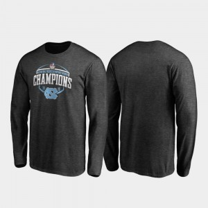 UNC Corner Long Sleeve 2019 Military Bowl Champions Heather Gray College T-Shirt For Men