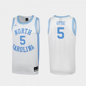 March Madness Mens #5 North Carolina Special Basketball White Nassir Little College Jersey