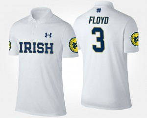 #3 Notre Dame Mens White Michael Floyd College Polo