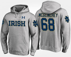 Notre Dame Gray #68 Men's Mike McGlinchey College Hoodie