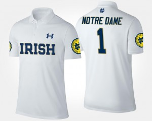White #1 No.1 Short Sleeve For Men's UND College Polo