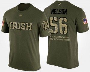 Quenton Nelson College T-Shirt #56 Notre Dame Fighting Irish Military Camo Mens Short Sleeve With Message