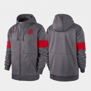 Anthracite OSU Performance Full-Zip 2019 Sideline Therma-FIT College Hoodie For Men's