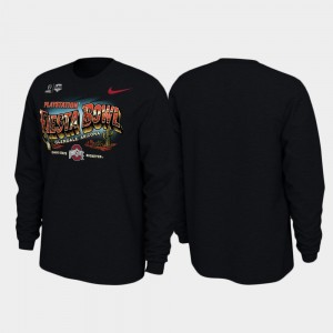 Illustrations Long Sleeve Black College T-Shirt For Men's Ohio State 2019 Fiesta Bowl Bound